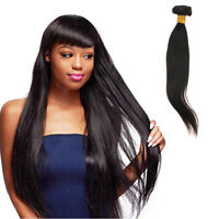 8A 1 Bundle Straight Brazilian Remy Hair Weave Extension Natural Black Color