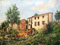 HOUSE IN ARGENTONA. OIL ON CANVAS. SIGNED COLOM. SPAIN. 1874 (?)