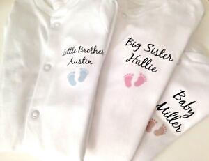 PERSONALISED Unisex footprint babygrow sleepsuit new baby gift, baby shower gift