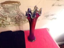 Vintage Carnival glass blue/irridescent fluted vase-Good condition