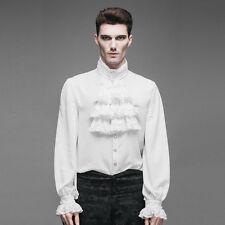 New Mens Shirt Top White Gothic Steampunk Fashion Victorian Regency Aristocrat