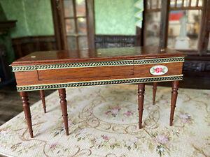 Vintage Miniature Dollhouse IGMA Artisan Mell Prescott Walnut Piano Inlaid Wood