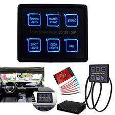 12V-24V 6 Gang LED Switch Panel Slim Touch Control Panel Box for Car Marine Boat
