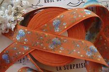 1y VINTAGE FRENCH BLUE ORANGE ROSE FLOWER JACQUARD ANTIQUE RIBBON DRESS TRIM HAT