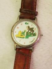 New listing Vintage Curious George Watch, with the yellow hat, Stainless Steel, Leather Band
