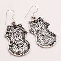 925 Sterling Silver Indian Old Ethnic Amulet Earrings Gypsy Hippie Women Jewelry