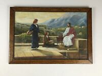 Antique Original 1936 Signed JESUS Framed Pastel Drawing Painting - A. Voigts