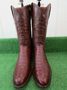 """LUCCHESE CLASSICS INLAY """"BELLY CUT"""" ALLIGATOR CROCODILE """"RARE"""" EXOTIC BOOTS 11 D"""