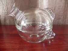 Clear Art Glass Anchor Hocking 2-Piece FishTrinket Box Paperweight Candy Bowl