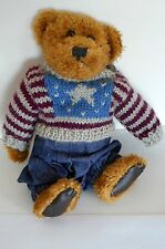 "BOYDS BEAR ""EDDIE BEAN BAUER"" 9"" WEARING OVERALLS AND SWEATER WITH TAGS"