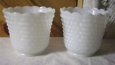 VINTAGE WHITE  MILK GLASS HOBNAIL TRUMPET SET OF VASES OR PLANTERS
