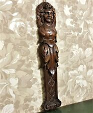 Green man caryatid carving corbel bracket Antique french architectural salvage