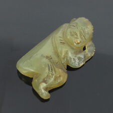 Antique Early Chinese Natural Untreated Translucent Jade Monk Netsuke Carving