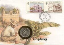 superbe enveloppe HONDURAS pièce monnaie 10 CENTAVOS 1980 NEUF NEW UNC timbre