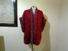 80s Maroon/Blue Thick Woven Wool Blend Oversized Artisan Sweater Vest Sz M/L