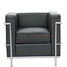 LE CORBUSIER MODERN BLACK GENUINE FULL LEATHER PETITE LC2 CHAIR STAINLESS FRAME
