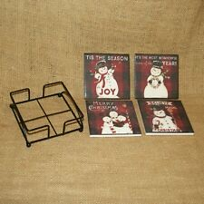 Set 4 Absorbent Christmas Snowman Coasters Primitives By Kathy