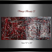 Vintage Beauty 23 Drip Art Style Painting Jackson Pollock large style Red Black