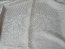VTG WHITE IRISH LINEN DAMASK TABLECLOTH w CENTER DOTS & ACANTHUS BORDER 68x72