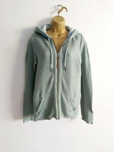 Fat Face Size 12 Textured Zip Up Hooded Top Soft Green Pockets
