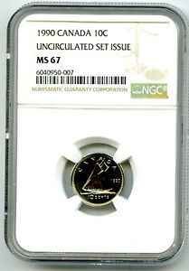 1990 CANADA 10 CENT NGC MS67 UNCIRCULATED SET ISSUE DIME COIN POP=2 RARE