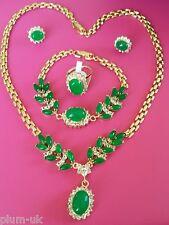 SET Green jade +diamante gold gf matching necklace bracelet ring earrings PlumUK