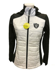 G-III 4her Oakland Raiders Women's First Down Packable Jacket - White/Black