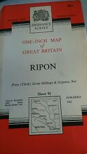 Vintage 1 inch Ordnance Survey Map. Ripon. Cloth. Sheet 91. 1962.