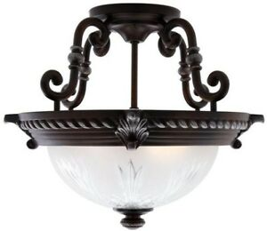 Bercello Estates Volterra Bronze Flushmount Ceiling Mount Light Fixture Lamp