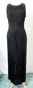 Laurence KAZAR M Evening Gown Black Fully BEADED Silk Formal Dress Gala Ball