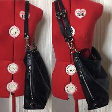 Claudia Firenze Black Large Hobo Handbag Pebbled Leather