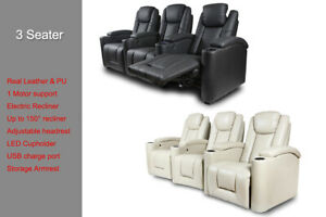 Sofa Electric Recliner LED Lighting USB Chair Leather 2-3 Seater Storage Armrest