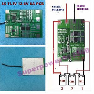 11.1V 12.6V PCM PCB BMS 3S 8A Li-ion Li-polymer battery LED sprayer solar power