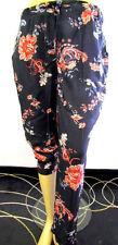 Donna Tessuto Elasticizzato Pantaloni blu colorato floreale Modello etnico