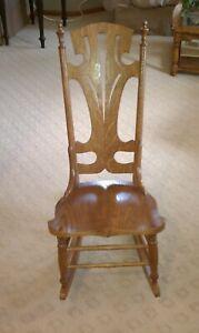 Antique Oak Ladies Sewing Nursing Rocking Chair Rocker