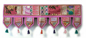 Embroidered Indian Pink patch work cotton Door Hanging Toran Vintage Valances