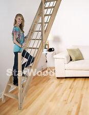 Raumspartreppe Buche 3000 inkl. Holz-Edelstahl Handlauf rechts, vollen Stufen
