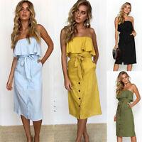 Femmes Off Shoulder Bardot Midi Dress Robes Summer Ruffle Belted Frill Dress
