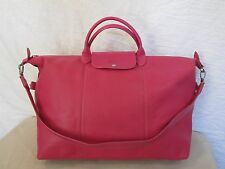Genuine Longchamp Le Pliage travel leather bag with strap in pink
