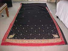 NEW BLACK RED Gold BOLLYWOOD Designer Sari DAZZLING Fabric KUNDAN DRAPES Curtain
