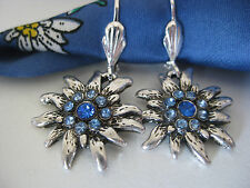 ♥ Ohrringe blau Trachtenschmuck 3D Edelweiss  Dirndl  Trachtenohrringe NEU!