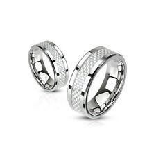 Damen & Herren Ring Edelstahl Damenring Weiß Karbon Inlay Band Edelstahlringe