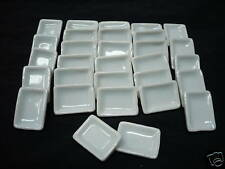 10 White Rectangle Dishes/Plates Dollhouse Miniature Ceramic Kitchenware