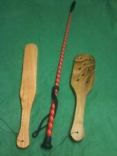 OTK hand-crafted wooden spanking two paddle set plus a riding crop