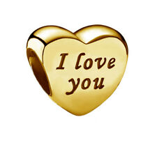 Genuine Pandora Words of Love Silver Charm 18K Gold Plated over Rhodium 791422