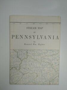 Stream Map Of PENNSYLVANIA BY Howard Wm. Higbee 1965 Vintage / Antique
