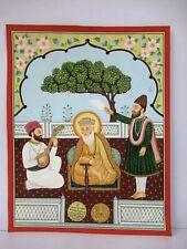 "Antique Sikhism Guru Nanak Bala & Mardana Miniature Painting Collectibles Rare""F"