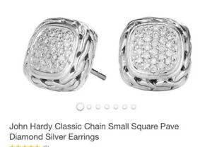 John Hardy 18k Ss Pave Diamonds Earrings
