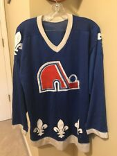 VINTAGE QUEBEC NORDIQUES JERSEY SIZE L BLUE HOCKEY NHL SEWN CCM