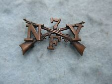 Spanish American War 7th New York Infantry Insignia Company F Sew On Subdued WWI